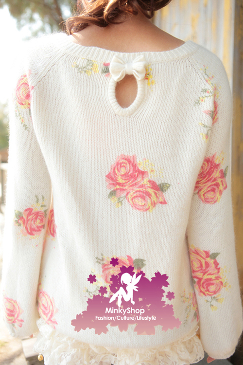 Creamy Rose Knit Jumper