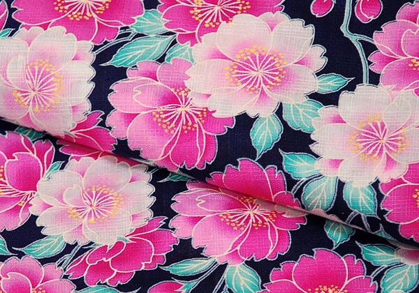 LENA FUJII Cherry Blossom Dark Blue Yukata Set