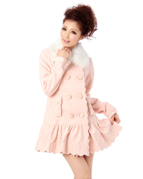 Liz Lisa Fur Collar Scallop Coat