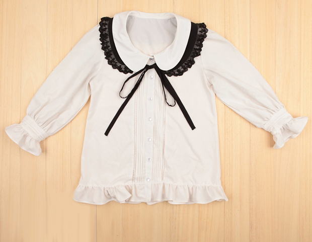 Removable Lace Baby Collar Shirt