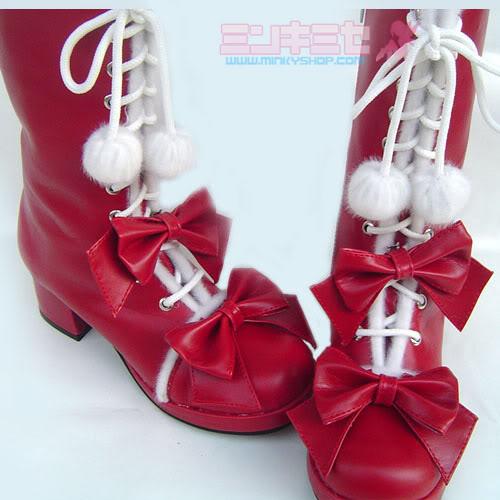 japanese pom pom calf boots