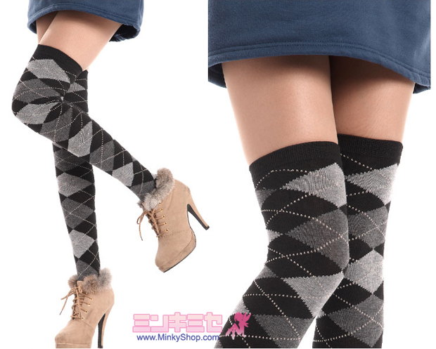 Argyle School Girl Over Knee High Socks