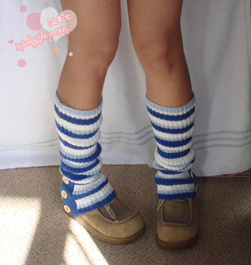 Japanese Navy Blue Stripe Leg Warmers Loose Socks
